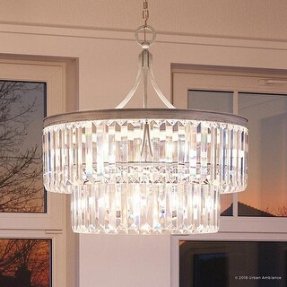 """Luxury Crystal Pendant Light, 23.875""""H x 22.25""""W, with Art Deco Style, Antique Silver Finish by Urban Ambiance"""