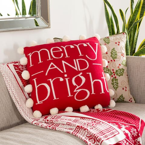 "Claude Knitted ""Merry and Bright"" Pom Pom 18-in Down/Poly Throw Pillow"