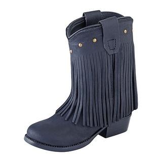Old West Cowboy Boots Girls Kid Fringe Leather Studs Black Nubuck 3126