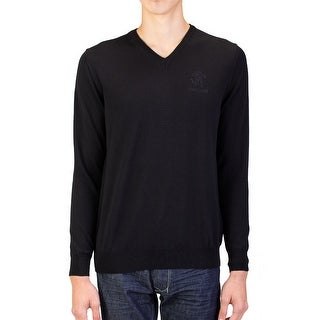 Roberto Cavalli Men's V-Neck Wool Sweater Black