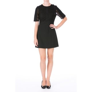 Impulse Womens Lace Short Sleeves Cocktail Dress - M