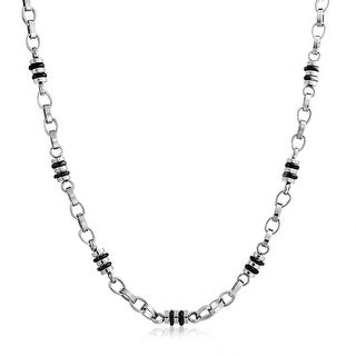 Bling Jewelry Mens Stainless Steel Black Barrel Bead Chain Link Necklace