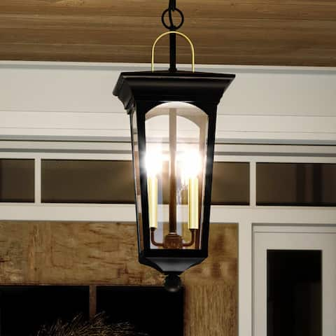 """Luxury Cosmopolitan Outdoor Pendant Light, 23.875""""H x 9""""W, with Comtemporary Style, Midnight Black, UHP1261 by Urban Ambiance"""