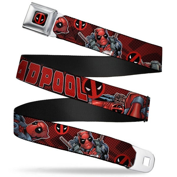 Marvel Universe Deadpool Logo Full Color Black Red White Deadpool Seatbelt Belt