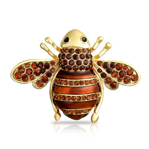 b5a9804f858 Golden Brown Crystal Large Fashion Statement Queen Bumble Bee Brooch Pin  For Mother For Women 14K