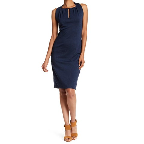 Max Studio Navy Womens Medium Keyhole Sheath Dress