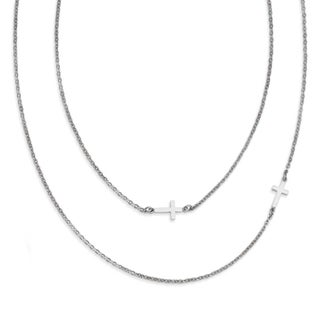 Chisel Stainless Steel Layered Sideways Cross Necklace (2 mm) - 18 in
