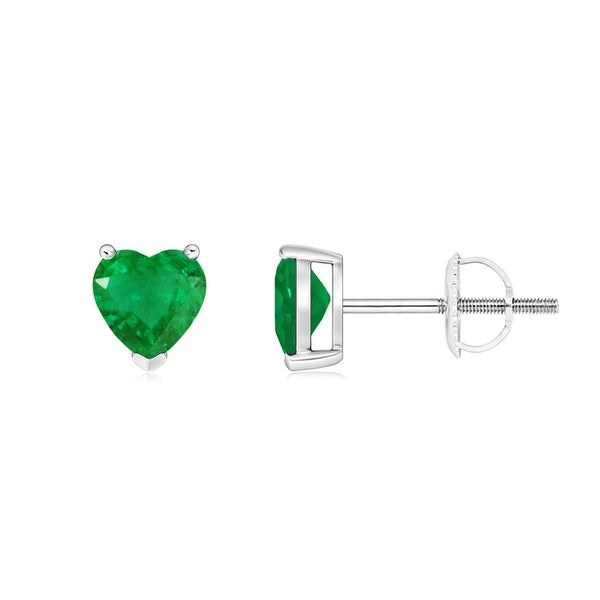 Angara Heart Shaped Emerald Solitaire Earrings in Platinum