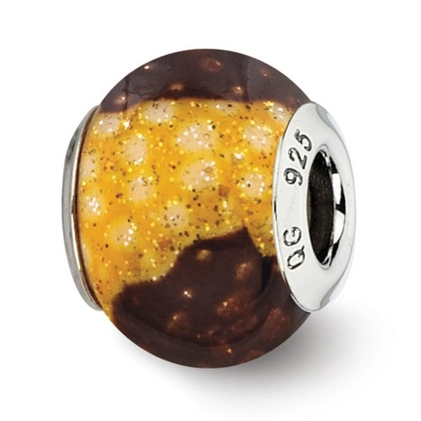 Italian Sterling Silver Reflections Brown/Yellow Glitter Overlay Glass Bead (4mm Diameter Hole)