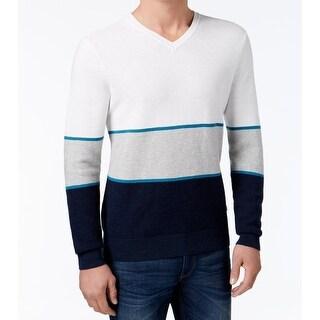 Michael Kors NEW Blue White Mens Size 2XL V-Neck Colorblock Sweater