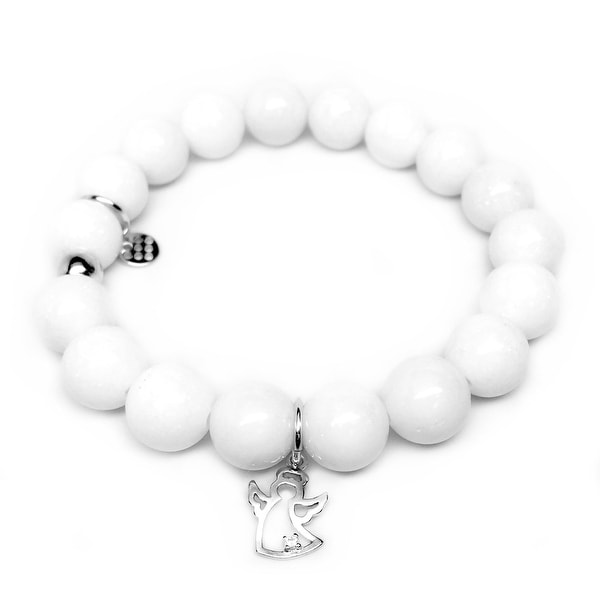 "White Jade CZ Angel Silver Charm Eternal 7"" Bracelet"