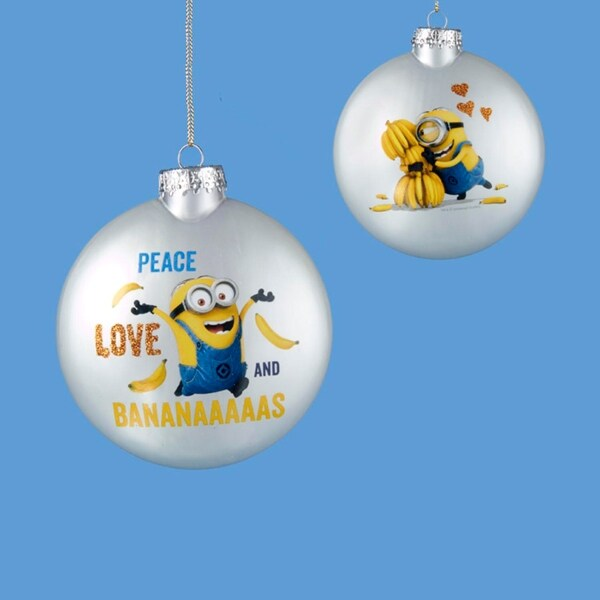 "3.25"" Despicable Me Double-Sided ""Peace, Love, and Bananaaaaas!"" Christmas Disc Ornament"