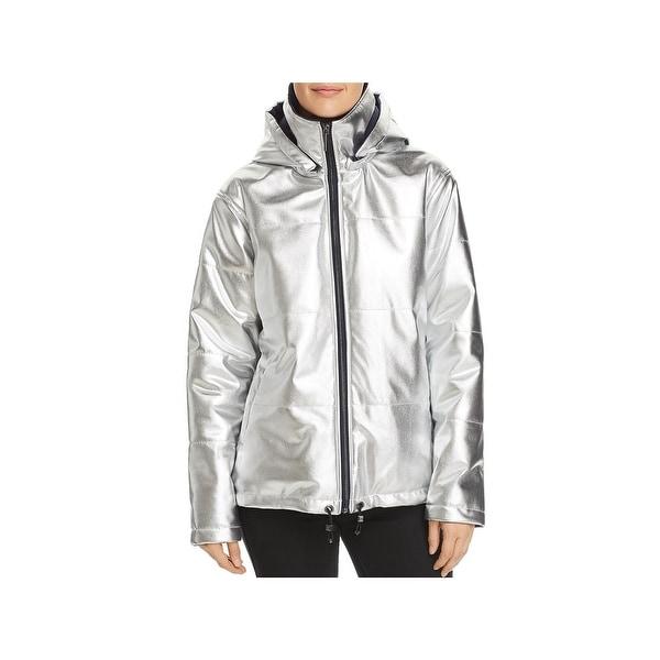 Kenneth Cole New York Womens Puffer Jacket Winter Metallic