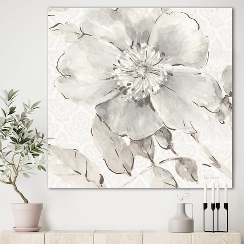 Porch & Den Indigold Grey Peonies II' Farmhouse Gallery-wrapped Canvas