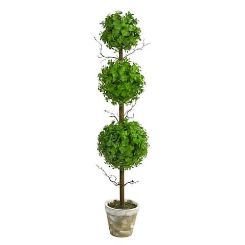 "3' Eucalyptus Triple Ball Topiary Artificial Tree - 6"""