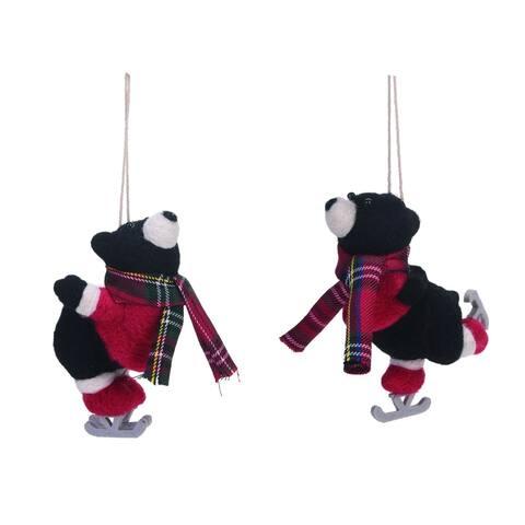 "Set of 2 Black and Red Skating Bear Christmas Ornaments 6"""