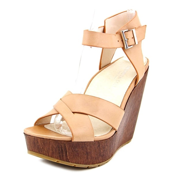 Kenneth Cole NY Clove Women Open Toe Leather Tan Wedge Sandal