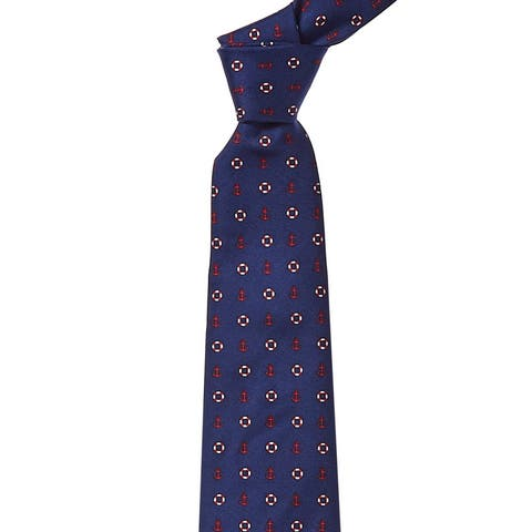 Brooks Brothers Navy Anchor & Lifesavers Silk Tie - os