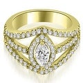 1.20 cttw. 14K Yellow Gold Halo Marquise Cut Diamond Engagement Diamond Ring - Thumbnail 0