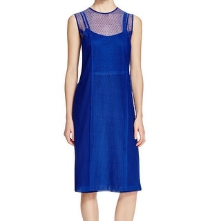 DKNY NEW Blue Women's Size Large L Lace-Overlay Crewneck Sheath Dress
