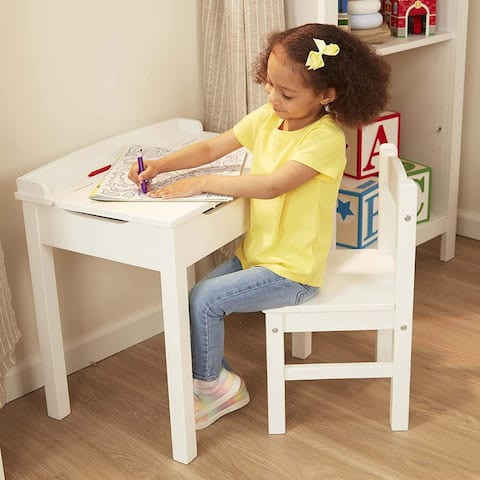 Melissa & Doug Wooden Lift-Top Desk & Chair - Gray