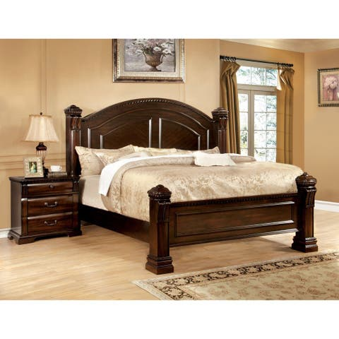 Furniture of America Tay Traditional Cherry 2-piece Poster Bed Set