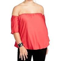 RACHEL RACHEL ROY Red Women's Size 2X Plus Off Shoulder Blouse