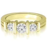 0.85 cttw. 14K Yellow Gold Three-Stone Bar Set Round Diamond Engagement Ring