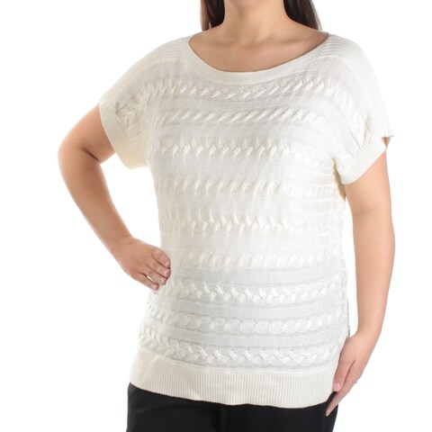 Womens Ivory Short Sleeve Jewel Neck Casual Sweater Size XL