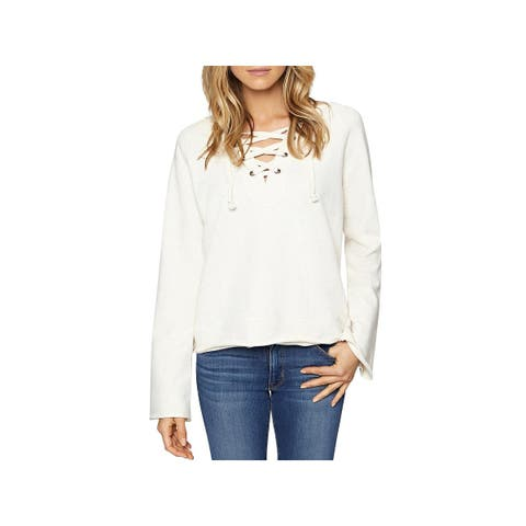 Sanctuary Womens Bailey Sweatshirt French Terry Lace-Up