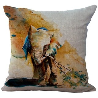 ChezMax Linen Blend Elephant Pattern Cushion Cotton Square Decorative Throw Pillow 18 X 18''