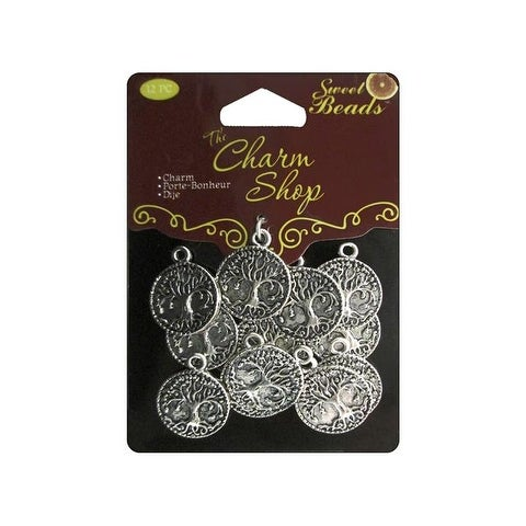Sweet Beads Charm Shop Mtl Rnd Tree Silver 12pc