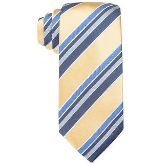 Countess Mara Lugano Stripe Classic Silk Necktie Yellow and Blue