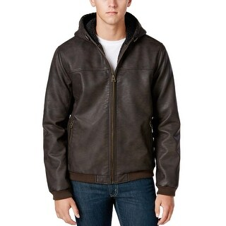 Levi's Dark Brown Faux Leather Hooded Sherpa Lined Bomber Jacket X-Large