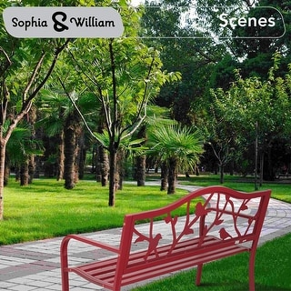 Link to Sophia & William Outdoor Patio Metal Bench Red, Steel Frame Bench with Backrest and Armrests Similar Items in Patio Furniture