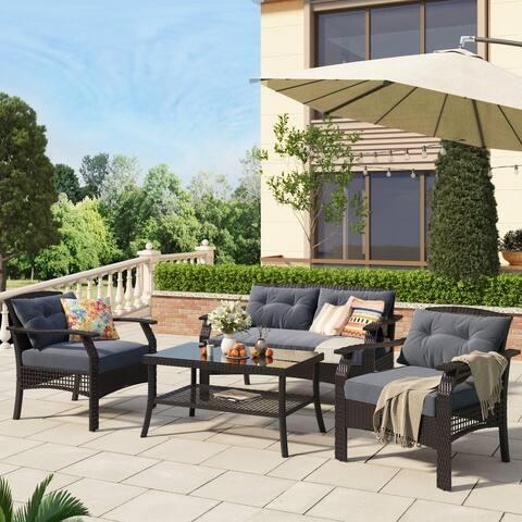 Nestfair 4 Piece Rattan Sofa Seating Group with Cushions