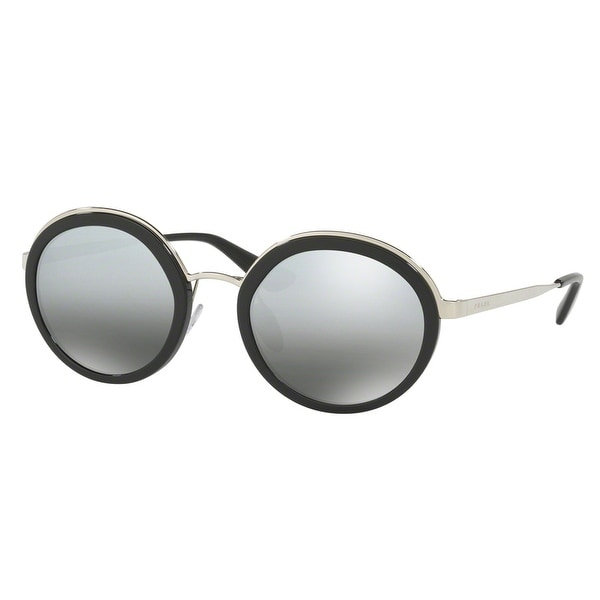 Prada SPR 50T 1AB-6N2 54mm Black Silver/Grey Mirror Women's Round Sunglasses - Black/silver - 54mm-23mm-140mm