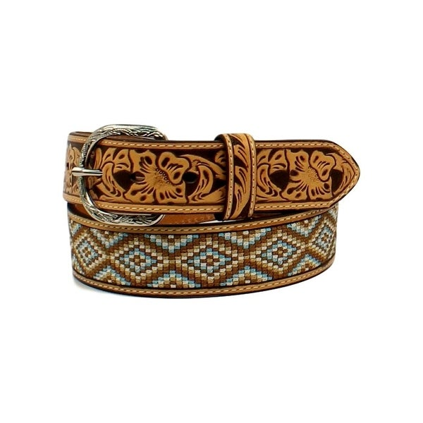 Nocona Western Belt Mens Diamond Fabric Embossed Top Hand Tan