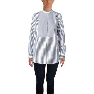 Lauren Ralph Lauren Womens Button-Down Top Striped Tunic