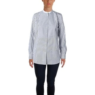 Lauren Ralph Lauren Womens Petites Button-Down Top Collarless Striped