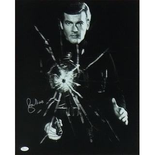 Roger Moore Autographed James Bond 16x20 Photo Bullet Hole JSA