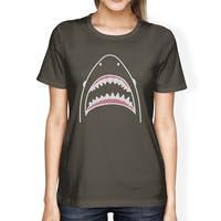Shark Womens Dark Grey Short Sleeve Tee Shirt Ring Spun Cotton Tee