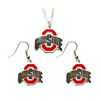 Ohio State Buckyes Necklace and Dangle Earring Charm Set NFL