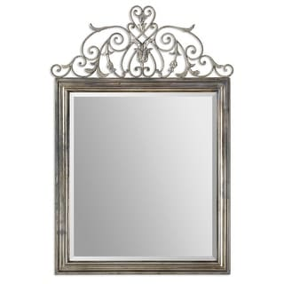 "59"" Silver Floral Accented Metal Framed Beveled Rectangular Wall Mirror"