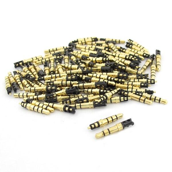100x 3.5mmx4.5mmx24mm 3Pole 4Poles Male Plug Headphone Soldering Jack Gold Tone