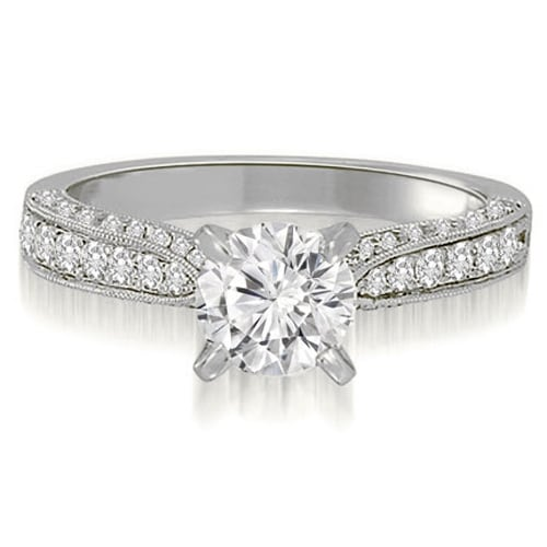 0.90 cttw. 14K White Gold Milgrain Cathedral Round Diamond Engagement Ring