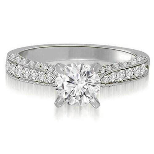 1.40 cttw. 14K White Gold Milgrain Cathedral Round Diamond Engagement Ring