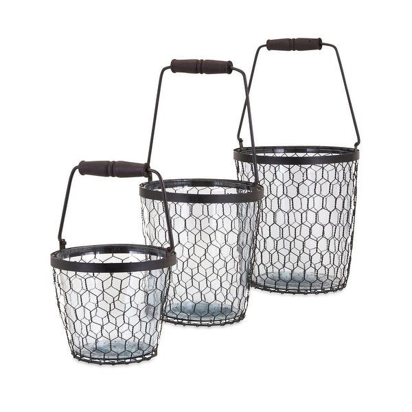 Set of 3 Honeybee Chicken Wire Honeycomb and Glass Buckets - N/A