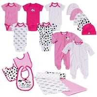 Gerber Baby Girl 19 Piece Baby Essentials Gift Set, Dalmatian, Newborn - Pink