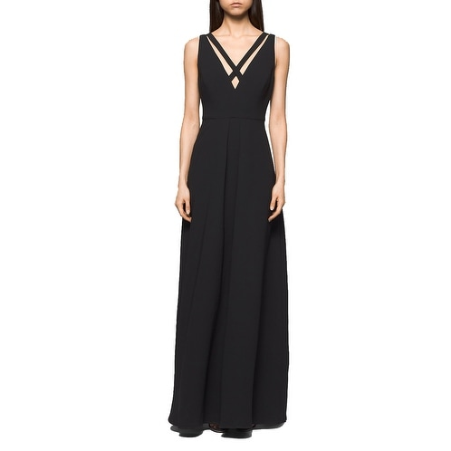Calvin Klein Cut Out Neck Crepe Gown Black 4